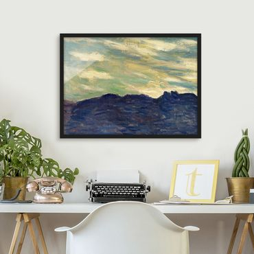 Bild mit Rahmen - Claude Monet - Felsen Sonnenuntergang - Querformat 3:4