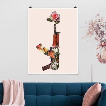 Poster - Jonas Loose - Waffe mit Rose - Hochformat 3:4