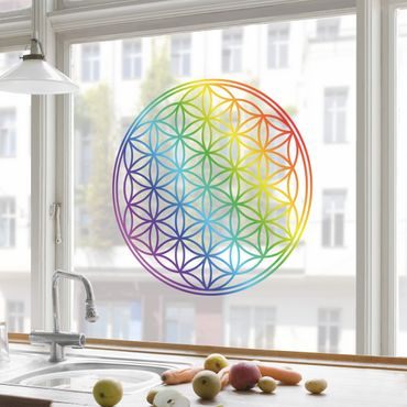Fensterfolie - Fenstersticker - Blume des Lebens Regenbogenfarbe