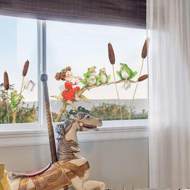 Fensterfolie Fenstersticker - Erdbeerinchen Erdbeerfee - Konzert mit Fröschen