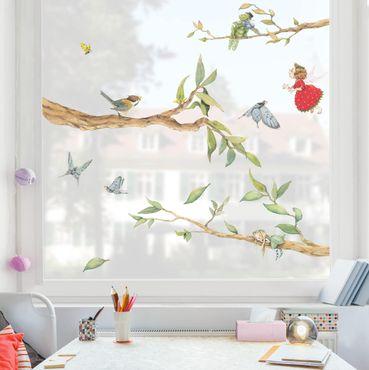 Fensterfolie Fenstersticker - Erdbeerinchen Erdbeerfee - Mit Baumfee und Heupferd