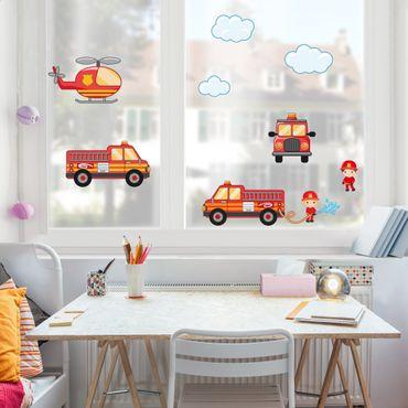 Fensterfolie - Fenstersticker - Feuerwehr-Set mit Fahrzeugen