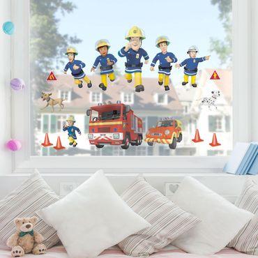 Fensterfolie Fenstersticker - Feuerwehrmann Sam - Helden
