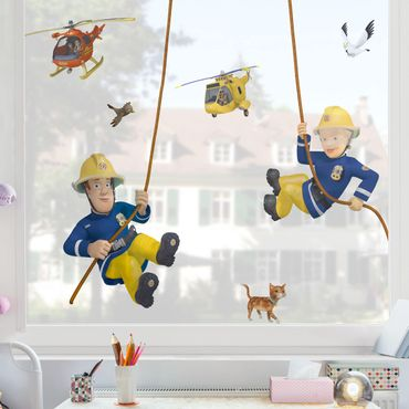 Fensterfolie Fenstersticker - Feuerwehrmann Sam - rettet dich