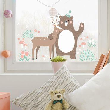 Fensterfolie Fenstersticker - Forest Friends mit Bär und Reh - Fensterbild