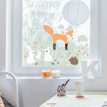 Fensterfolie Fenstersticker - Forest Friends mit Hasen Igel und Fuchs - Fensterbild
