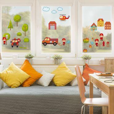 Fensterfolie - Fenstersticker - Großes Feuerwehr-Set