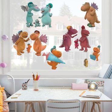 Fensterfolie Fenstersticker - Kleiner Drache Kokosnuss - Familien