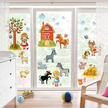 Fensterfolie - Fenstersticker - Kleines Bauernhof-Set