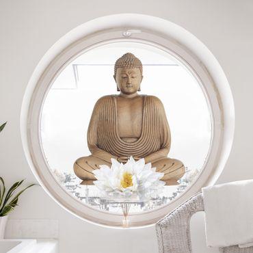 Fensterfolie - Fenstersticker - Lotus Holz Buddha