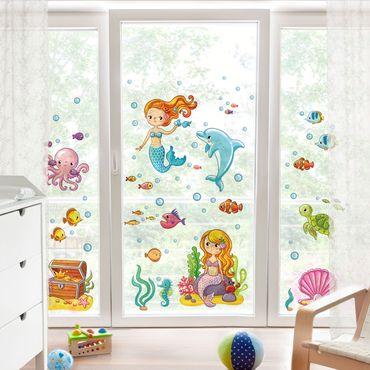 Fensterfolie - Fenstersticker - Meerjungfrau - Unterwasserwelt Set