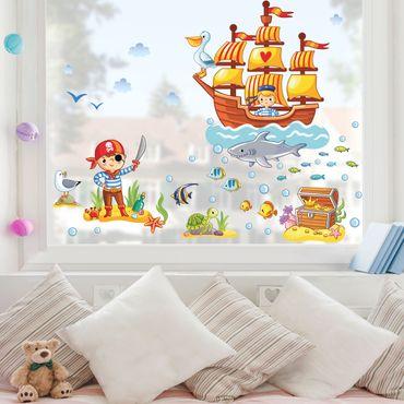Fensterfolie - Fenstersticker - Piraten Set