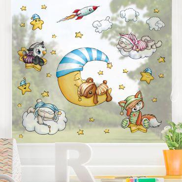 Fensterfolie Fenstersticker Kinderzimmer - Schlafmützen - Abendstunde Set