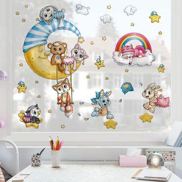 Fensterfolie Fenstersticker Kinderzimmer - Schlafmützen - Mond und Sterne Set