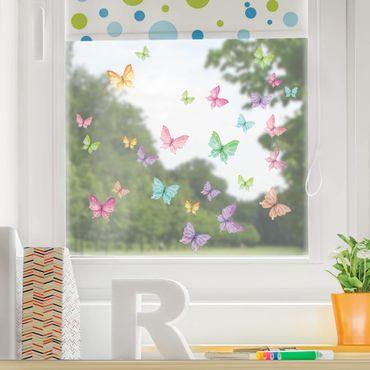 Fensterfolie Fenstersticker Kinderzimmer - Animal Club International - Set Glitzerschmetterlinge
