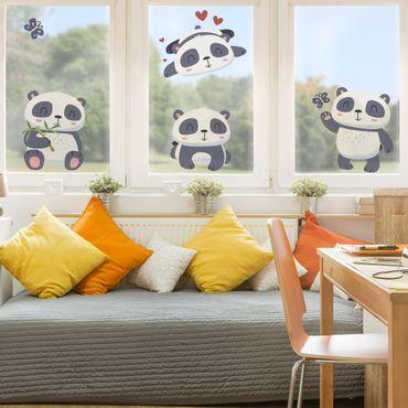 Fensterfolie Fenstersticker - Süßes Pandabären Set - Fensterbild