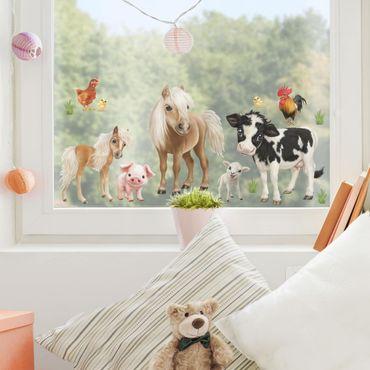 Fensterfolie Fenstersticker Kinderzimmer - Tiere auf dem Bauernhof Set