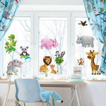 Fensterfolie - Fenstersticker - Tiere des Dschungels