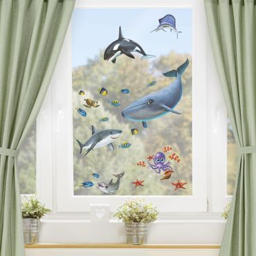 Fensterfolie Fenstersticker Kinderzimmer - Animal Club International - Tiere im Meer