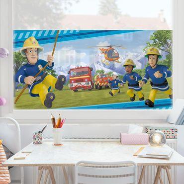 Fensterfolie Sichtschutz - Feuerwehrmann Sam - Immer in Aktion - Fensterbild