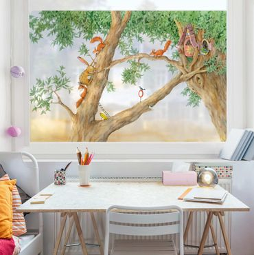 Fensterfolie Sichtschutz - Josi Hase - Wohnung der Eichhörnchen - Fensterbild