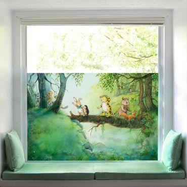 Fensterfolie Sichtschutz - Kleiner Tiger - Baumbrücke - Fensterbild