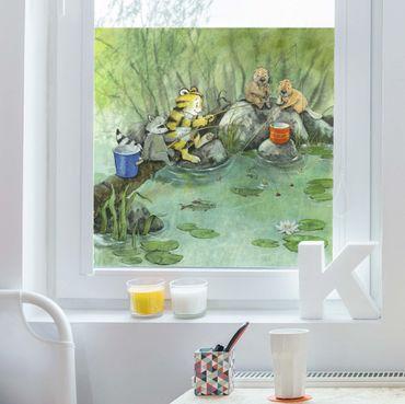 Fensterfolie Sichtschutz - Kleiner Tiger - Beim Angeln - Fensterbild