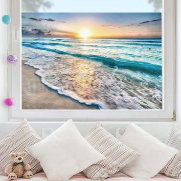 Fensterfolie Sichtschutz - Sonnenuntergang am Strand - Fensterbild