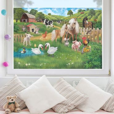 Fensterfolie Kinderzimmer Sichtschutz - Tiere auf dem Bauernhof - Fensterbild