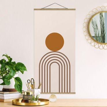 Stoffbild mit Posterleisten - Line Art Kreis und Linien Kupfer - Hochformat 1:2