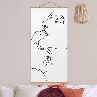 Stoffbild mit Posterleisten - Line Art Zärtliche Gesichter Schwarz Weiß - Hochformat 1:2