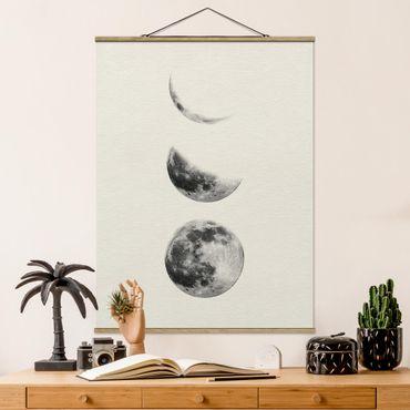 Stoffbild mit Posterleisten - Drei Monde - Hochformat 4:3