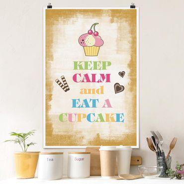 Poster - No.EV71 Keep Calm And Eat A Cupcake Bunt - Hochformat 3:2