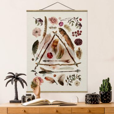 Stoffbild mit Posterleisten - Fundstücke - Wasserfarben - Hochformat 4:3
