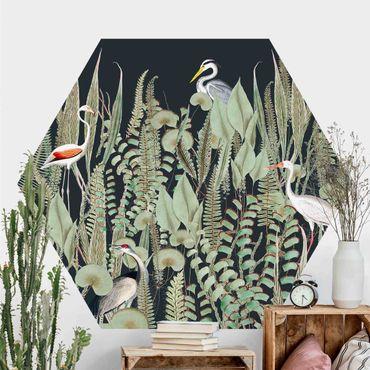 Hexagon Mustertapete selbstklebend - Flamingo und Storch mit Pflanzen auf Grün
