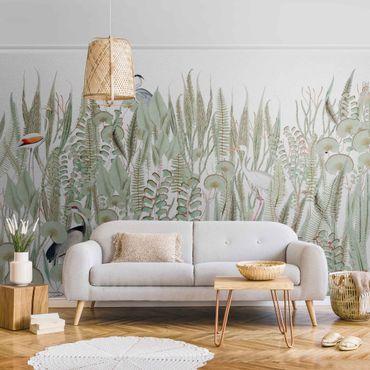 Metallic Tapete  - Flamingo und Storch mit Pflanzen