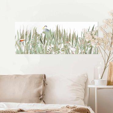 Glasbild - Flamingo und Storch mit Pflanzen - Panorama