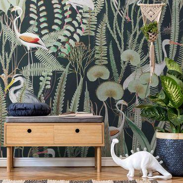 Metallic Tapete  - Flamingos und Störche mit Pflanzen auf Grün