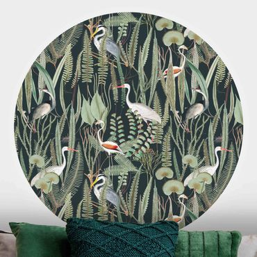 Runde Tapete selbstklebend - Flamingos und Störche mit Pflanzen auf Grün