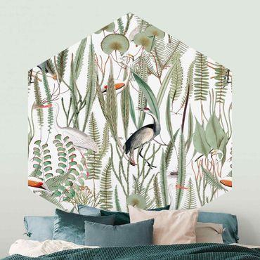 Hexagon Mustertapete selbstklebend - Flamingos und Störche mit Pflanzen