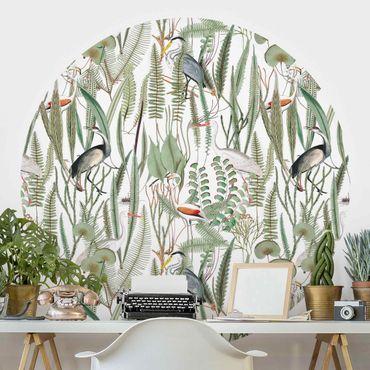 Runde Tapete selbstklebend - Flamingos und Störche mit Pflanzen
