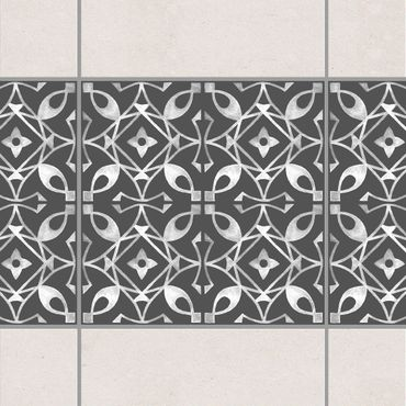 Fliesen Bordüre - Dunkelgrau Weiß Muster Serie No.08 - 15cm x 15cm Fliesensticker Set