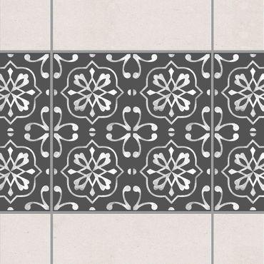 Fliesen Bordüre - Dunkelgrau Weiß Muster Serie No.04 - 15cm x 15cm Fliesensticker Set