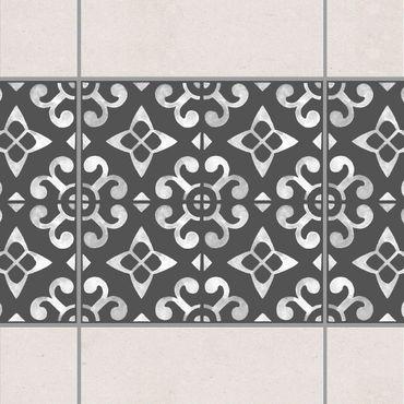 Fliesen Bordüre - Dunkelgrau Weiß Muster Serie No.05 - 15cm x 15cm Fliesensticker Set