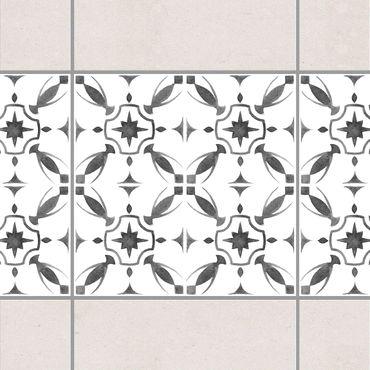 Fliesen Bordüre - Grau Weiß Muster Serie No.1 - 15cm x 15cm Fliesensticker Set