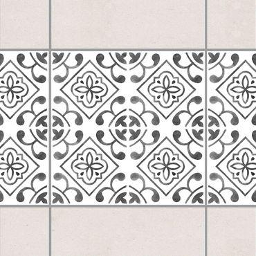 Fliesen Bordüre - Grau Weiß Muster Serie No.2 - 15cm x 15cm Fliesensticker Set