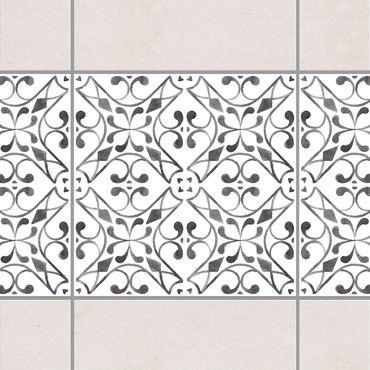 Fliesen Bordüre - Grau Weiß Muster Serie No.3 - 10cm x 10cm Fliesensticker Set