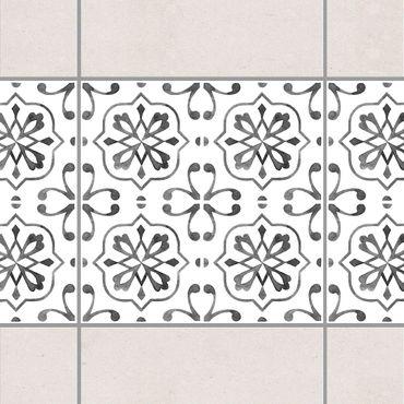 Fliesen Bordüre - Grau Weiß Muster Serie No.4 - 15cm x 15cm Fliesensticker Set