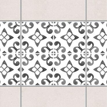 Fliesen Bordüre - Grau Weiß Muster Serie No.5 - 15cm x 15cm Fliesensticker Set