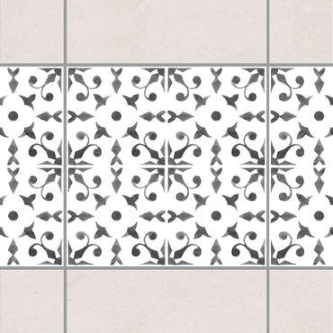 Fliesen Bordüre - Grau Weiß Muster Serie No.6 - 15cm x 15cm Fliesensticker Set